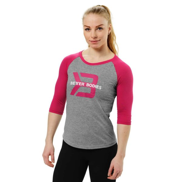 Better Bodies Womens Baseball Tee Grey Melange pink