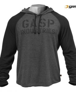 NEW - GASP LONG SLEEVES THERMAL HOODIE, GRAPHITE MELANGE
